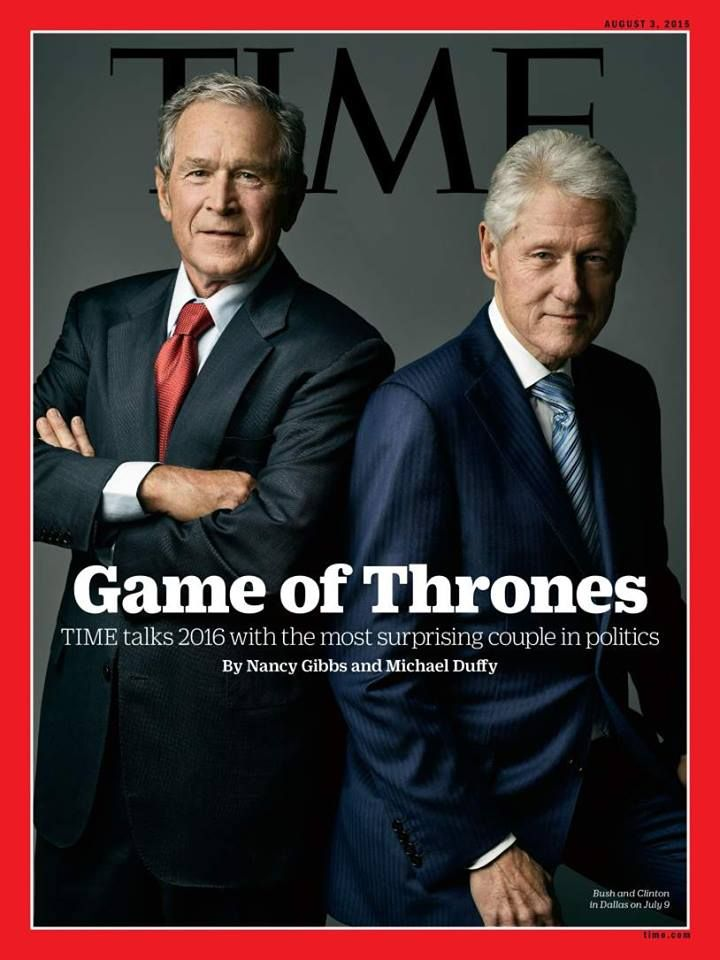 Article that confirms they are in cahoots! #TeaParty In an interview with TIME, the two former presidents reveal their views on the upcoming presidential campaign which could pit one's wife against another's brother. Plus, Bill Clinton defends his family's foundation, why Hillary Clinton never thought she'd be in politics and whether George W. Bush has designs on painting his predecessor's portrait.