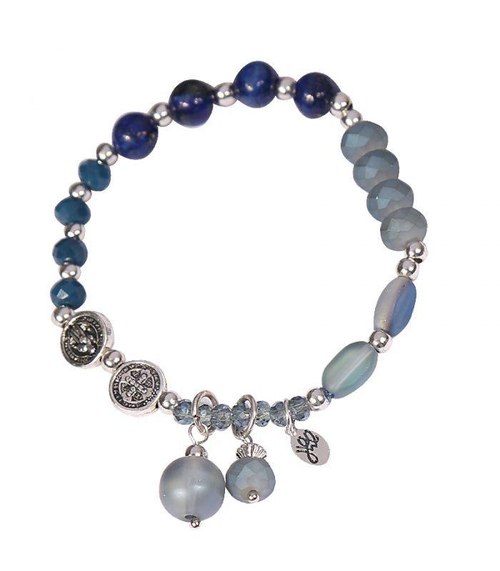 Blauwe armband met kralen en bedels|Armbanden koop je online | Yehwang fashion en sieraden