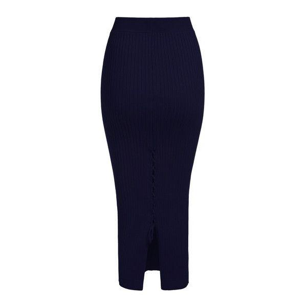 SheIn(sheinside) Navy Back Split Bandage Knit Skirt (€9,05) ❤ liked on Polyvore featuring skirts, navy, knee length pencil skirt, long blue skirt, bandage skirt, navy skirt and knit pencil skirt