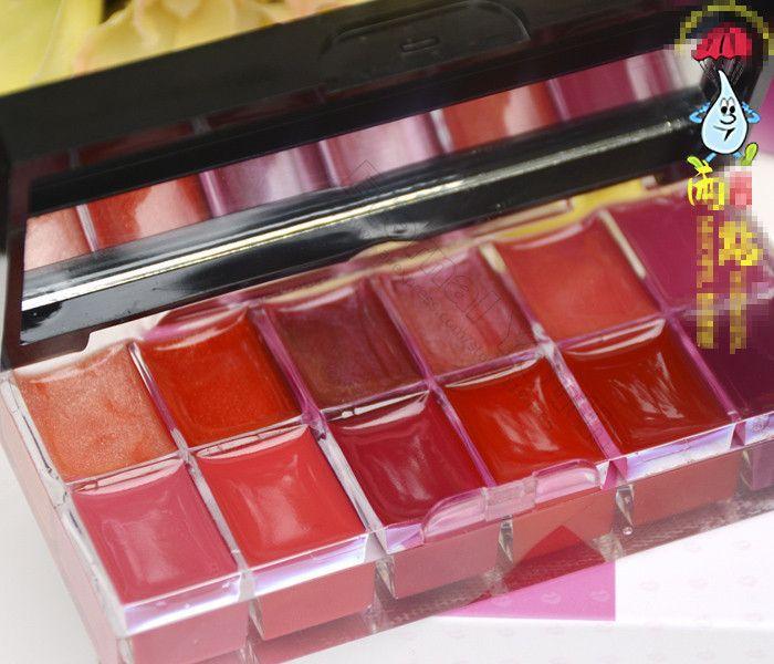 12 cores Lip Gloss Palette Comestic placa com escova de longa duração de maquiagem brilho batom alishoppbrasil