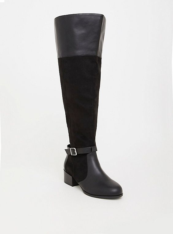 e0634ec4fa3 Wide Black Faux Suede Over the Knee Boot - Wide Width   Wide Calf