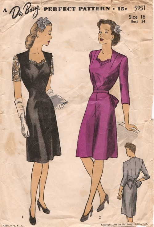 DuBarry 5951; ©1944; Misses' Dress. Bodice has sweetheart neckline, with darts at shoulder. Built up skirt joins bodice. Figure I has short lace sleeves and lace trimmed neckline. Figure II has short or three-quarter sleeves, and self ruffle at neckline. Bow is sewn to belt in back. [insert your photos of this pattern made up]