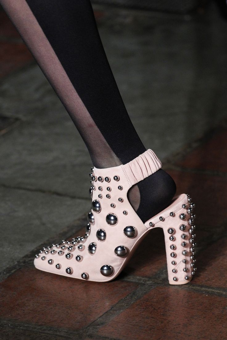 Love these studded ankle booties from Alexander Wang Fall 2016 Ready-to-Wear Fashion Show. AW16 Vogue Runway.