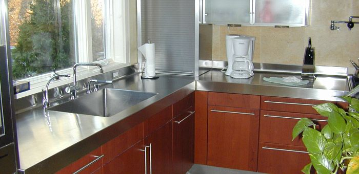 stainless steel counter tops.  inexpensive, amazing looking, diy friendly!