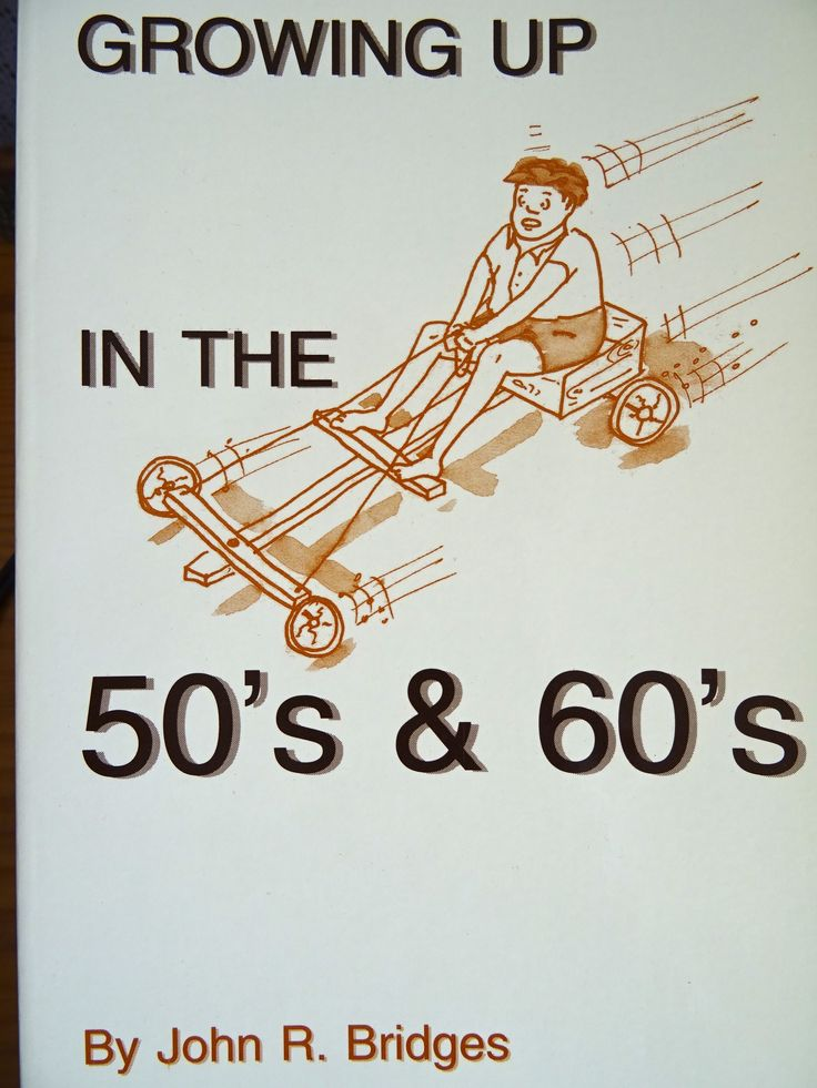 "Front cover of ""Growing up in the 50s and 60s - a humorous memento of that era with photos of items long forgotten."