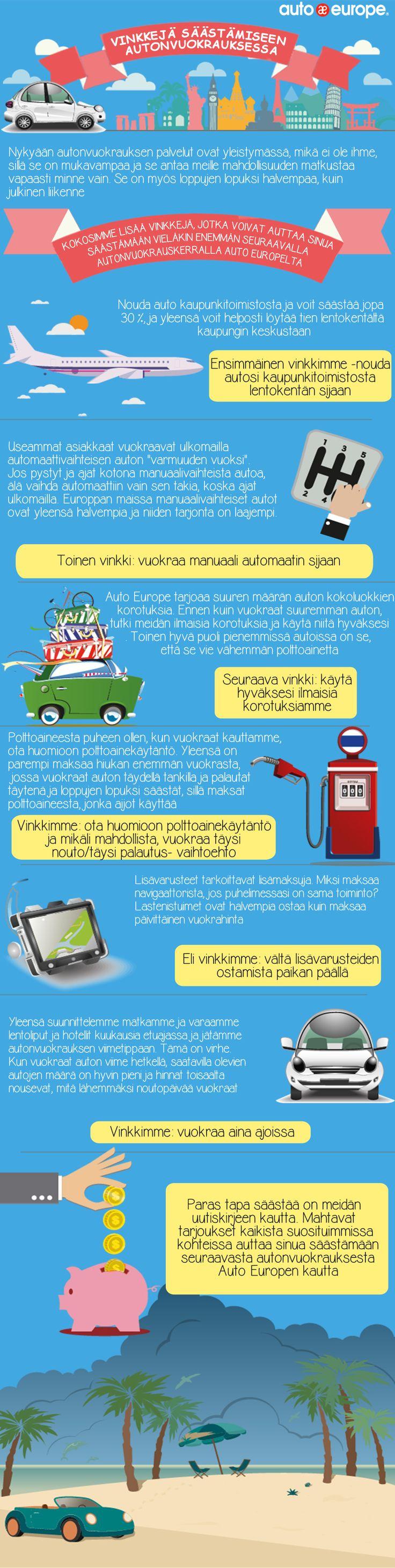 Infografiikka Vinkkejä säästämiseen autonvuokrauksessa Auto Europen kautta Muut infografiikkamme löydät täältä