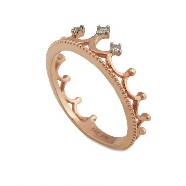 Μοντέρνο δαχτυλίδι στέμμα - κορώνα Κ14 από ροζ χρυσό με διακόσμηση από τρία διαμάντια μπριγιάν | Δαχτυλίδια ΤΣΑΛΔΑΡΗΣ στο Χαλάνδρι #δαχτυλιδια #διαμαντια #fashion