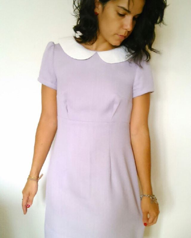 Marion's Megan dress with added collar - pattern in Love at First Stitch