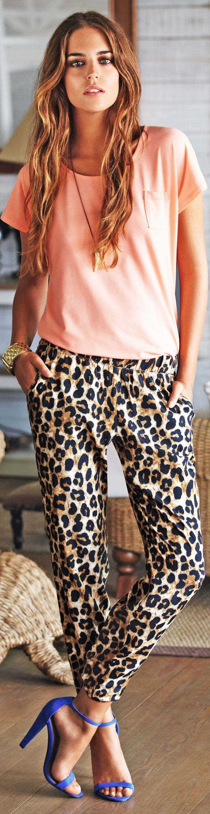 leopard pants   coral top