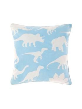 Kids Sky Blue Retro Dino Cushion from Linen House's Hiccups range, available at Forty Winks.