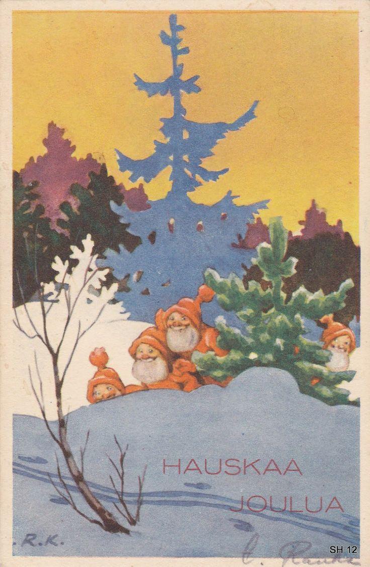 Vintage Rudolf Koivu Christmas Gnomes Card ~ Orange Details