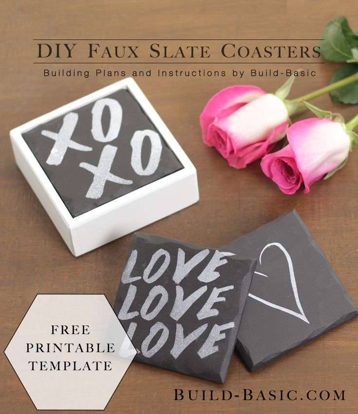 Who doesn't love the chalky finish and chipped edges of natural slate! For a fraction for the price of the real stuff, make these faux slate coasters using my easy technique for shaping the e…