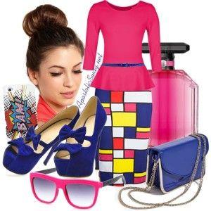 Pop art skirt, pink peplum top, platform peeptoe pumps with bows, patent handbag, high bun / top knot