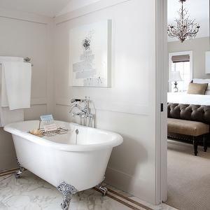 Chalet Development - bathrooms - gray, walls, claw foot tub, marble, tiles, floor, abstract, art, clawfoot tub, calwfoot bathtub, clawfoot tub bathroom, clawfoot tub bathroom design, white clawfoot tub, white clawfoot bathtub,