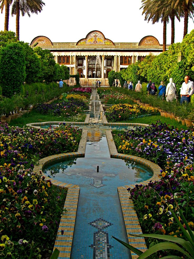 walking gardens surrounding city  Iran Shiraz. Eram Garden
