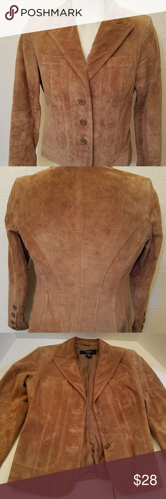"""Alfani Petite Ladies Brown Leather Suede jacket Alfani beautiful brown button up leather jacket.  It's 100% leather and polyester lining.  It says it's a ladies size Petite, which I'm guessing is PS petite small.  It's in good used condition with light age wear and I noticed one small pen mark and a little wear on the ends of the sleeves.  Measurements laying flat: Length: 24""""  Bottom width: 16.5"""" Armpit to armpit: 17"""" arm length from shoulder to end: 22"""" collar width: 4.5"""" shoulder to…"""