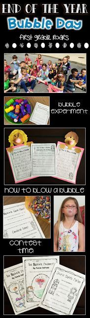 """Learning about bubbles can be so much fun.  It is perfect for the end of the year as a themed day.  Blow bubbles, make a bubble craft, write a """"How To"""", have a bubble gum contest, work on words, make bubble stories and so much more.  This fun day is perfect for kindergarten, first or second grade."""