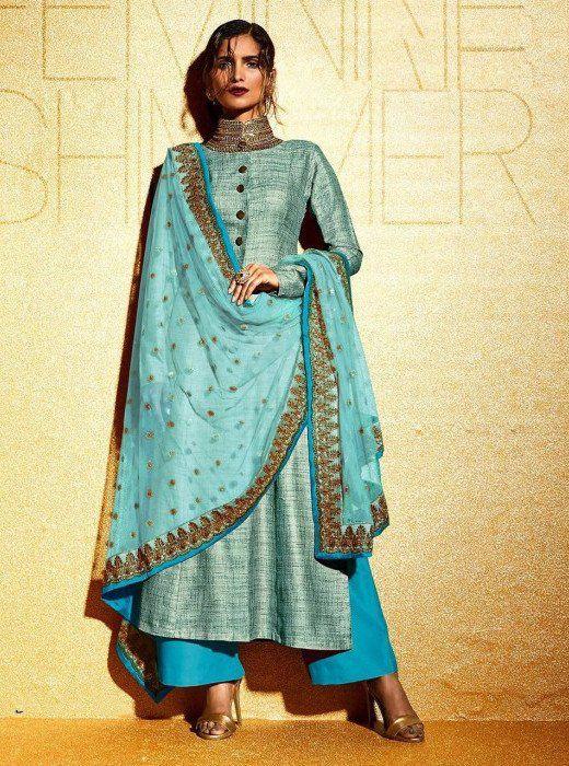 Sky Blue Khadi Patch Work Indian Salwar Kameez #indianweddingdresses