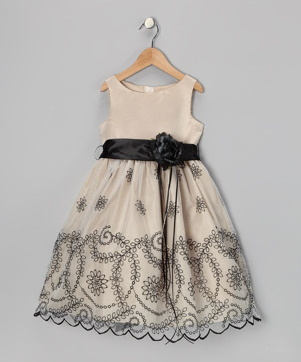 Look at this Kid's Dream Champagne Embroidered Flower Dress - Toddler & Girls on #zulily today!