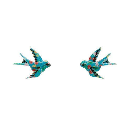 Blue Bayou (Erstwilder Multi Colour Resin Bird Earrings) - Glitterally.co.uk