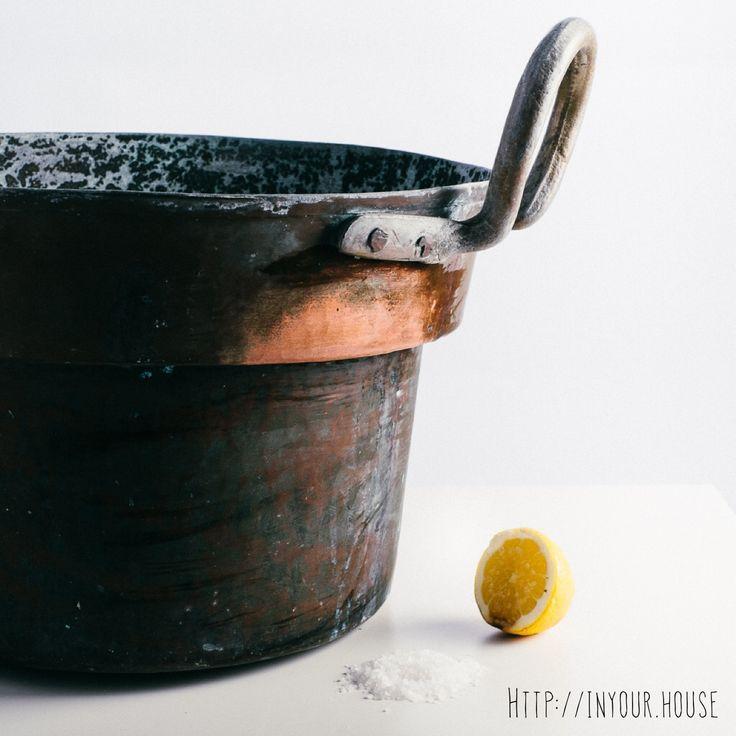 #Rimedio infallibile per #pulire il #rame: #limone e #sale grosso! #casa #pulizia #rimedi naturali