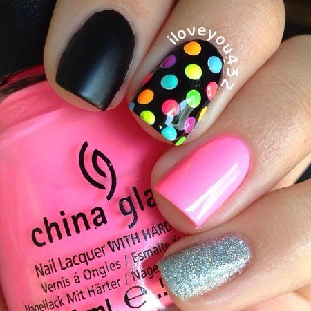 Neon Polka Dots, Matte.Black, Pink, and Silver Glitter