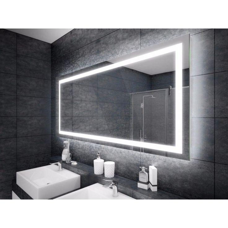 Espejo con iluminación LED, en forma de rectángulo.