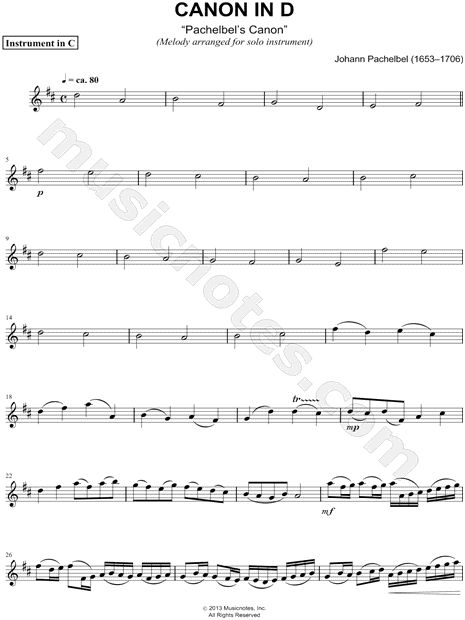 "Johann Pachelbel ""Canon in D"" Sheet Music (Flute, Violin, Oboe or Recorder) - Download & Print"