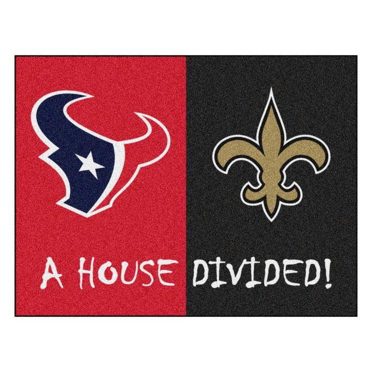 Houston Texans - New Orleans Saints NFL House Divided Rugs 33.75x42.5