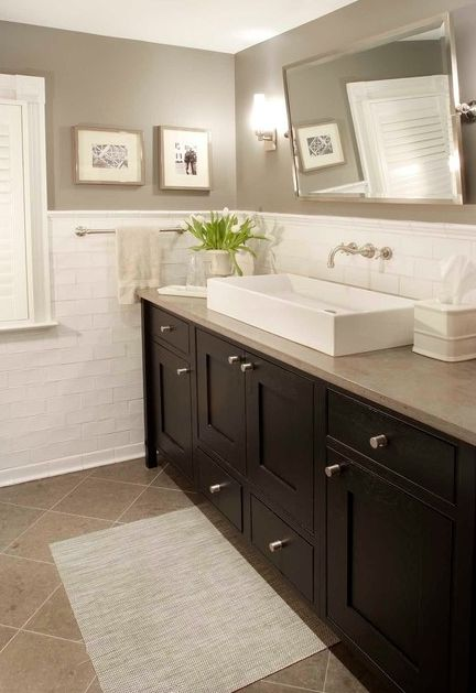 Color scheme and Sink is big enough for two people to use at the same time.... Not a bad idea for a bathroom that will not fit two separate