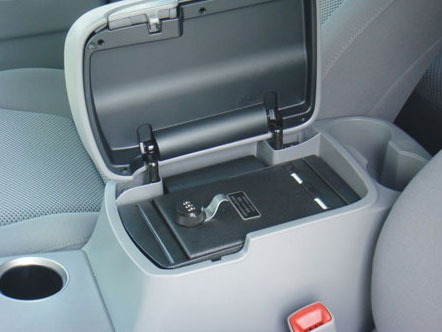 A great place to put my valuables when doing valet or going to the store.   http://www.consolevault.com/toyota-tacoma-floor-console-2005-2011.html