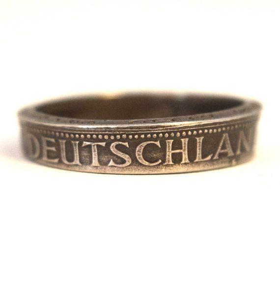 Coin Ring/ Münzring 1 Mark (Germany/Deutschland) size(US) 10   / Größe(DE) 20  ; size/Größe(mm/inches): 62/ 2 9/16