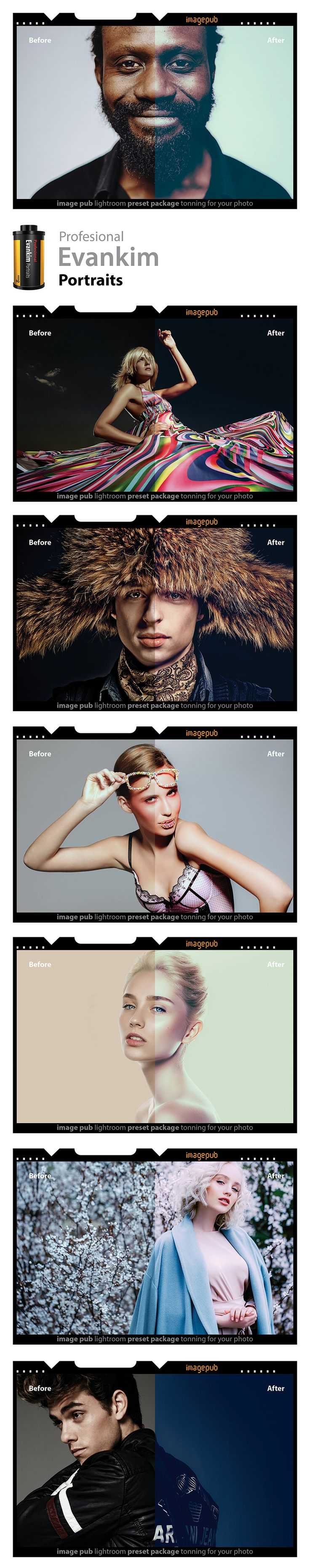 Portrait presets from Art Director Evankim.  Art Director Evankim의 인물사진 프리셋. 잡지, 패션 화보, 광고, 결혼, 파티, 행사 사진 등을 위한 프로 퀄리티 프리셋. 스튜디오나 야외 등에서 기획 촬영된 인물사진에 잘 어울립니다. 대형인화에서도 퀄리티가 유지되는 프로 퀄리티 프리셋.