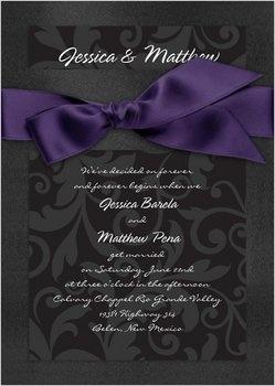 Wedding, Purple, Black, Invitations, Bridal, Davids