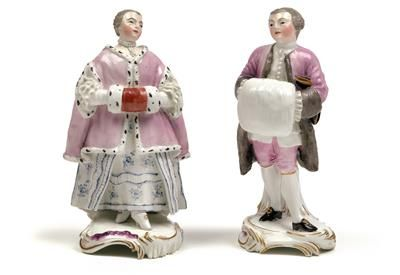 A lady and gentleman with muffs, porcelain. height 15, 15.5 cm, slight firing cracks, Frankenthal, Germany, underglaze blue mark Carl Theodor with electoral hat circa 1765, model by Johann Friedrich Lück circa 1760, incised marks 2 and R, probably former Matthäus Rohr. Wien, Dorotheum, 22.04.15, no. 956.