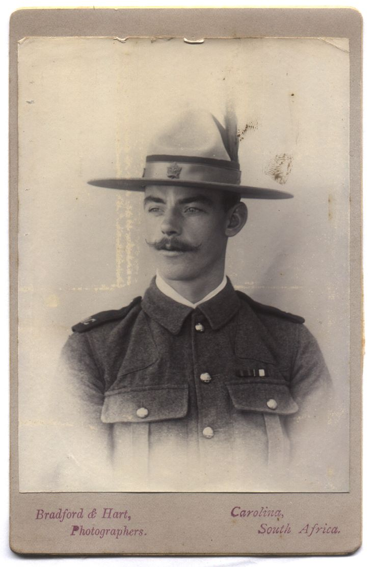 """Canadian Trooper  South African Constabulary  c.1903 -The maple leaf badge on this man's """"Montana Peak"""" or """"lemon squeezer"""" hat clearly identifies him as one of   Canada's soldiers who served the Empire during the Boer War."""
