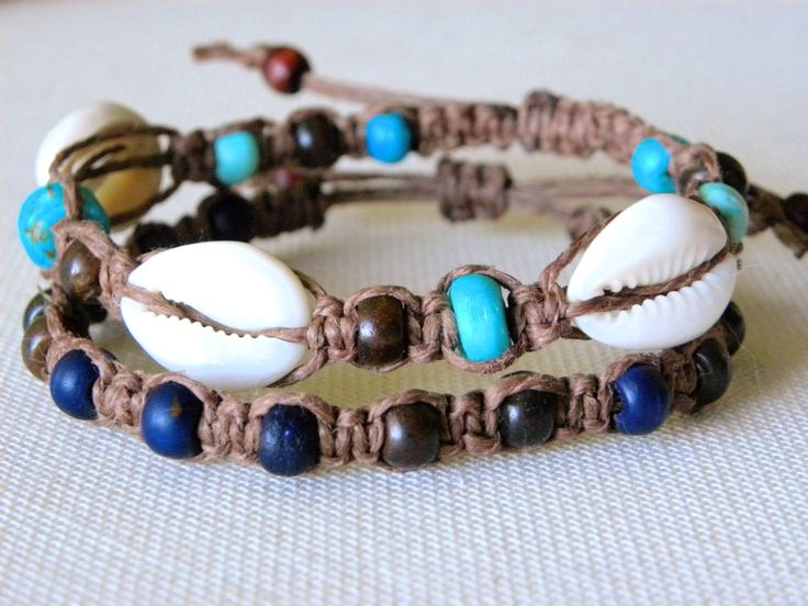 Hemp Bracelet Set with Shells - Brown and Blue Hemp Jewelry - Two Adjustable Hemp Surfer Bracelets-  Beach Hemp MacrameJewelry. $13.00, via Etsy.