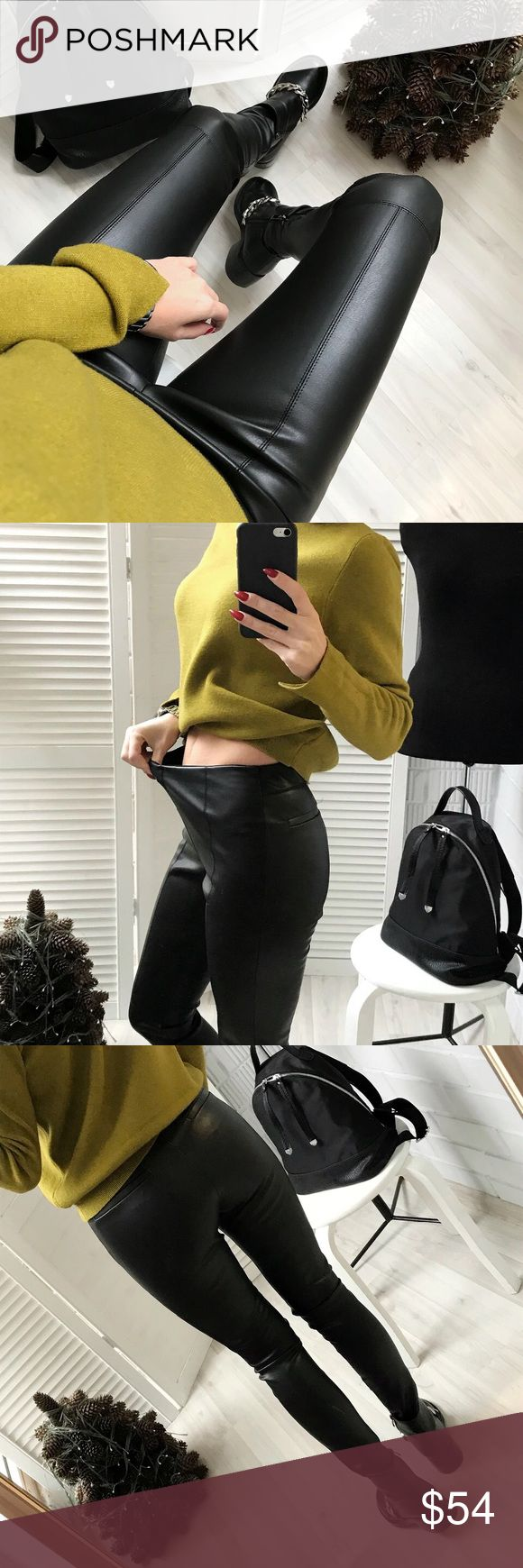 """""""Legends Are Made"""" magical blend of cotton and vegan leather to make you feel invincible, flat front style, pencil pant design, elastic waist with zipper detailing around the ankle, high waisted for maximum comfort, seriously, you will LIVE in these leggings and cultivate your inner legend.  Bundle to get a discount. TSH Pants"""