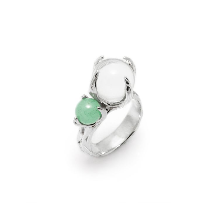 SPHERE RING SPUTNIK WITH CLEAR QUARTZ AND AVENTURINE #pulse_jewellery  #sterling #silver #925 #jewellery #jewelry #ring #rings #fluid #liquid #sphere #gemstone #clear #quartz #aventurine