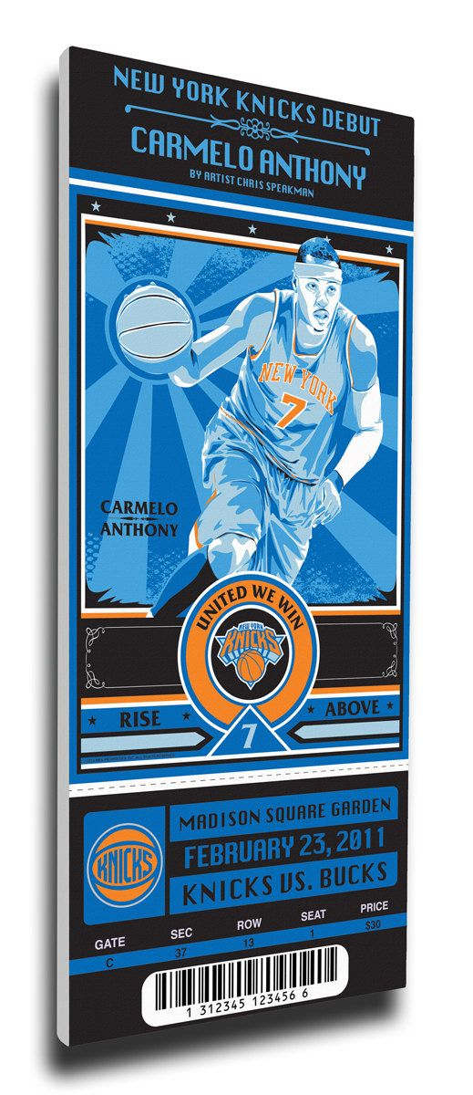Carmelo Anthony Artist Series Canvas Mega Ticket - New York Knicks