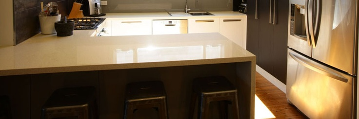 Waterfall caesarstone benchtop in kitchen renovation
