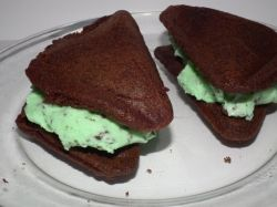 Pour chocolate cake batter into sandwich maker to make Ice Cream Sandwich!