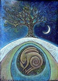 beautiful art of moonlit tree by Hannah Willow