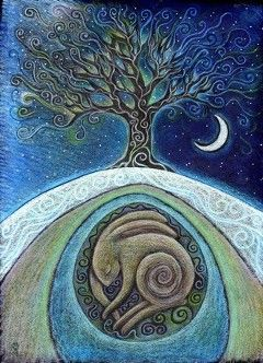 beautiful art of moonlit tree by Hannah Willow