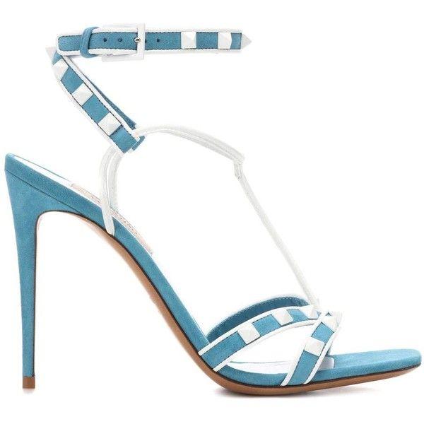 Valentino Valentino Garavani Free Rockstud Spike Suede Sandals (€810) ❤ liked on Polyvore featuring shoes, sandals, valentino sandals, spiked shoes, blue shoes, valentino shoes and blue suede sandals