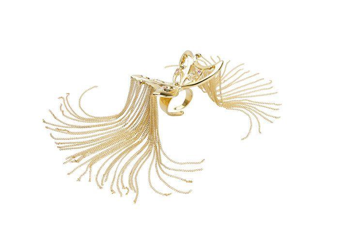 Bague chaînes Papillon pleureur en métal doré et cristaux Swarovski en vente sur mon e-shop Etsy - 50€ ©VisionOfJewels by ThierryRégnier