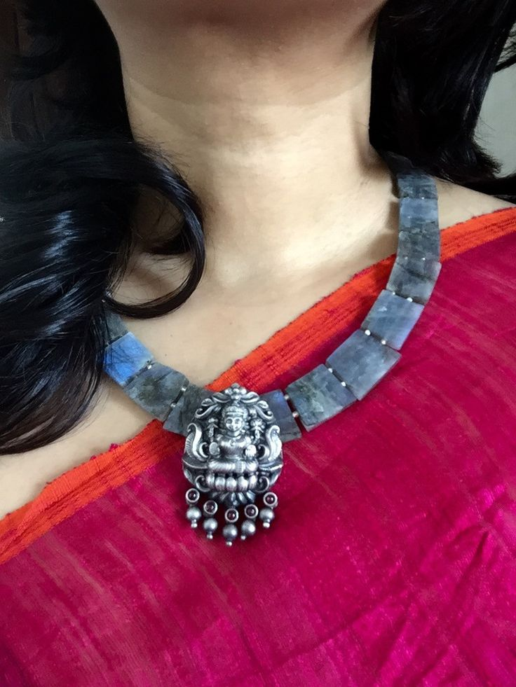 Labradorite squares and sterling silver Lakshmi pendant in temple jewellery style. Pinned bySujayita
