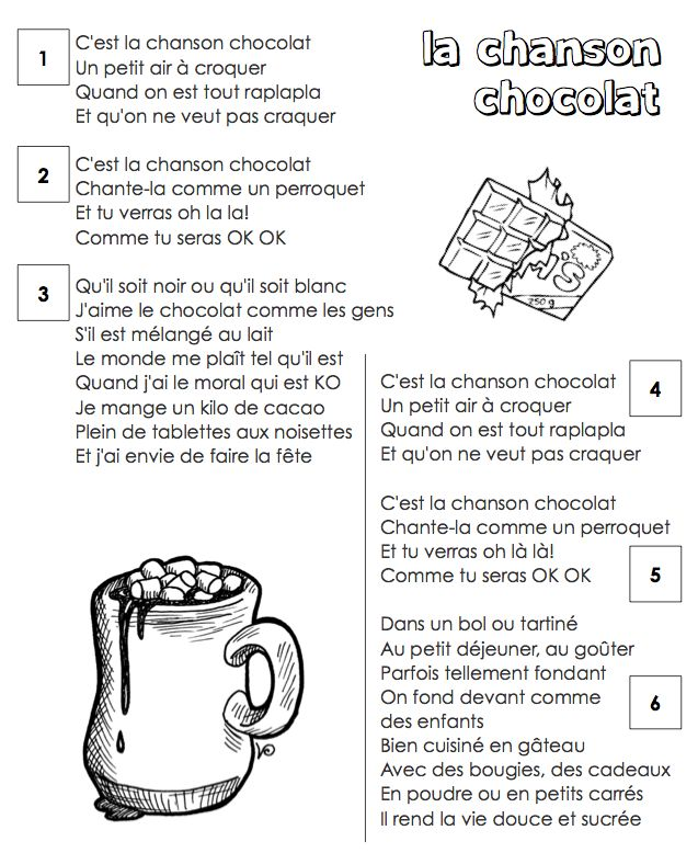 La chanson chocolat - lyrics to go with you tube song by Les Enfantastiques - students find and circle the sound blends we know.