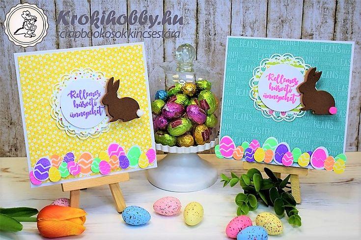 Kellemes Húsvéti Ünnepeket!Nagyon cuki húsvéti üdvözlőlapokat készítettünk.  Többek között a Sizzix mini nyuszis vágósablonjával és az általunk tervezett akrilbélyegzővel.