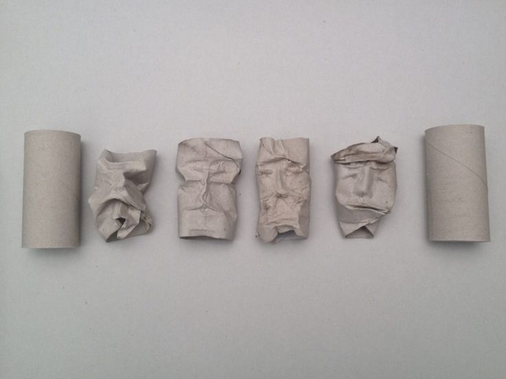 Gesichterskulpturen aus Klopapierrollen - fadenspiel und fingerwerk